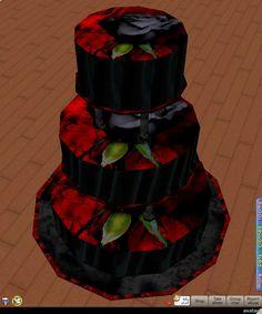 Goth wedding cakes | gothic wedding photo: 3 tier wedding cake blackandredgothiccake.png