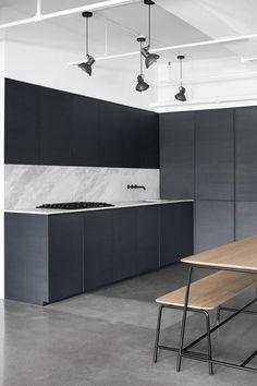 Kitchen design in black