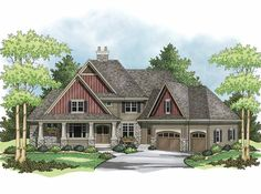 Craftsman House Plan with 4032 Square Feet and 4 Bedrooms(s) from Dream Home Source | House Plan Code DHSW65693