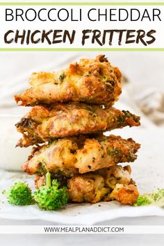 Broccoli Cheddar Chicken Fritters are an easy low carb dish! These fritters can be made in the Air Fryer or stove top of for a quick, yet low carb meal. #chickenfritter #fritters #Chickenrecipe #easyrecipe #mealplanaddict