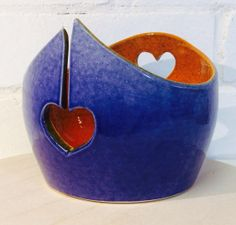 Yarn Bowl glazed in Blue and Orange with heart by EarthWoolFire, £45.00