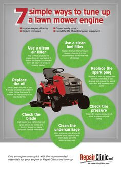 7 simple ways to make your lawn mower engine run like new. Save money, reduce emissions, prevent costly repairs & extend the life of your mower. Check out for www.RepairClinic.com/Tune-up for more info. #diy #infographic #lawnmower #spring #outdoorpower