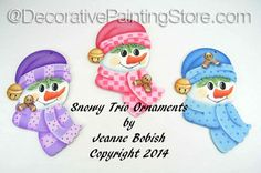 The Decorative Painting Store: Snowy Trio Ornaments Pattern - Jeanne Bobish…