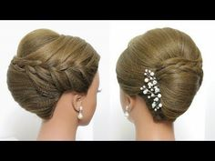 Bridal hairstyle for long hair, updo tutorial with braided flowers French Roll Updo, French Roll Hairstyle, French Twist Hair, French Twists, Wedding Hairstyles For Long Hair, Elegant Hairstyles, Braided Hairstyles, Hair Wedding, Evening Hairstyles