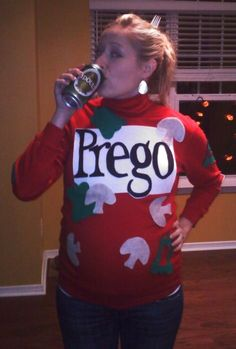 pregnancy halloween costume ideas prego sauce can - Pregnant Halloween Couples Costumes