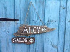 Handmade Nautical Hanging Driftwood Ahoy Sailor Sign