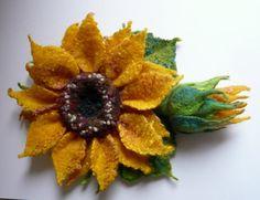 Merino wool brooch. Yellow sunflower. by FireFlyFelt on Etsy, $34.00
