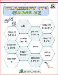 Classify It Game 2. A 1st Grade math game to help children understand about properties of numbers.