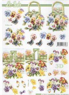 Feuille 3D fleurs : Feuilles 3D à découper pensée http://fournitures-loisirs.les-creatifs.com/feuilles-3d.php?refer=Pensee-3D  Format A4 21 cm x 29,7 cm pour réaliser des tableaux 3D.