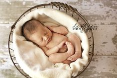 It's amazing how old baskets or boxes are just perfect for placing a sleeping newborn.