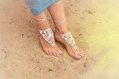 Beach wedding White Crochet Barefoot Sandals от NaiNaiboutique