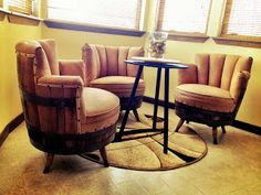Wine Barrel Chairs... Super clever! #livingroom #wine #diy