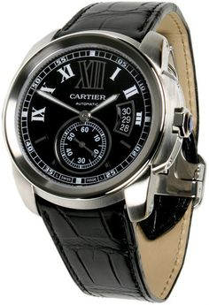 Brand New & Authentic Cartier Automatic watch with black dial and black leather strap on Sale. Free US Shipping. Ships internationally.