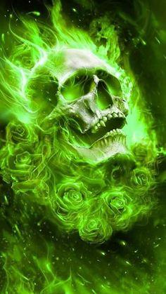 Skulls n Skeletons Dark Fantasy Art, Dark Art, Skull Artwork, Skull Painting, Ghost Rider Wallpaper, Grim Reaper Art, Badass Skulls, Motorcycle Paint Jobs, Skull Art