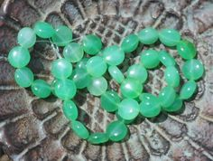 Candy Jade Stone Beads, Puffed Coin Beads, Full Strand Jade, Stone Supplies, Green Spearmint Jade, Beading Supply Strand - pinned by pin4etsy.com