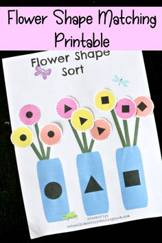 Teach your toddler or preschooler basic 2D shapes with this spring math printable!  Your little one will learn about circles, triangles, and squares.  Just print and match with this Flower Shape Matching Activity!