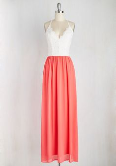 The Art of Allure Dress in Coral - Coral, White, Daytime Party, A-line, Maxi, Twofer, Sleeveless, Spring, Woven, Better, Long, Boho, Lace