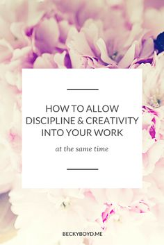 You started your business because you want to serve others, in a higher, soul-connected way, right? And I'm guessing you also want to feel good. You want to feel inspired and connected to your work. And here's the thing: it can be tricky to balance being productive with creativity. Click through to read the full post: http://www.beckyboyd.me/2016/06/discipline-creativity-work.html