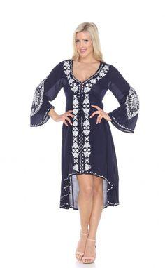 White Mark Gwyneth Embroidered Dress - Navy - $34.99 (66% savings)