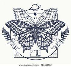 Symbol of magic, renaissance, esoterics, travel, soul. Butterfly in mystical circle t-shirt design Tattoo Outline, Tatoo Art, Tattoo Drawings, Mini Tattoos, New Tattoos, Cool Tattoos, Tattoo Papillon, Butterfly Mandala Tattoo, Tatoo Symbol