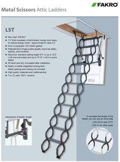 Fakro Metal Scissor Attic Ladder Ceiling Height 7 ft. 6 in. to 10 ft. 10 in. - Scissors Attic Ladders $497.35