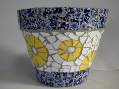 Blue China and Yellow Mosaic Pot by TheMosartStudio on Etsy