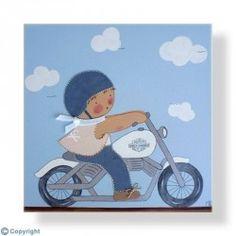 Cuadro infantil Niño motorista