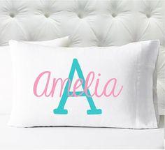 Personalized Girls Pillowcase - Name Initial Pillowcase - Sweet Pea Font - Kids Pillow Case - Standard Size Pillowcase : Personalized Girls Pillowcase – Name Initial Pillowcase – Sweet Pea Font – Kids Pillow Case – Standa Yellow Pillows, Cute Pillows, Kids Pillows, Pillow Cases For Kids, Personalized Pillow Cases, Personalised Blankets, Personalized Coasters, Kid Fonts, Pillow Texture