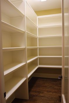 Simple walk-in pantry shelving