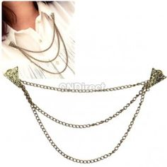 $1.67 New Vintage Fashion Cool Triangle Stud Shirt Tassels Chain Choker Collar Necklace Brooch