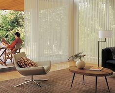 Perfectly relaxed transition from the living room to the outside. Luminette® Privacy Sheers ♦ Hunter Douglas window treatments #LargeWindows
