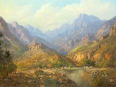 Gabriel De Jongh (SA 1913 - Oil, Mountain Landscape with Pool Mountain Landscape, Landscape Art, Landscape Paintings, Love Art, All Art, South African Artists, 5th Avenue, Arrow Keys, Close Image