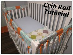 Start by measuring your crib rails. My short ones measured at 21.5x7 inches and my long one which is a little fatter measured at 53.5x9 in...