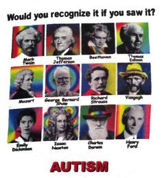 Autism: Would you recognize it if you saw it? Mark Twain, Thomas Jefferson, Beethoven, Thomas Edison, Mozart, George Bernard Shaw, Richard Strauss, Vangogh, Emily Dickinson, Isaac Newton, Charles Darwin, Henry Ford  Please click out areas to see quotes about