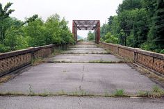 abandoned bridge over the Mississippi River.