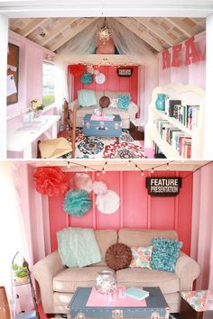 She shed interior ideas she shed reader retreat haven escape ideas organisation for backyard she shed . she shed interior ideas Playhouse Decor, Playhouse Interior, Playhouse Furniture, Girls Playhouse, Backyard Playhouse, Build A Playhouse, Playhouse Ideas, Backyard Sheds, Cubby Houses