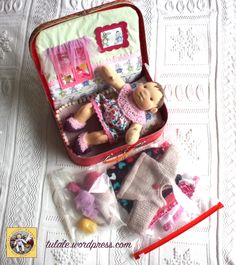 Waldorf baby doll with her home in suitcase ready to travel by #Tulale