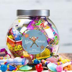 Personalised Retro Christmas Sweet Treat Jar - Xmas Girl