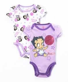 e61e6382c3e Bentex Purple  Girls Rule  Betty Boop Bodysuit Set - Infant