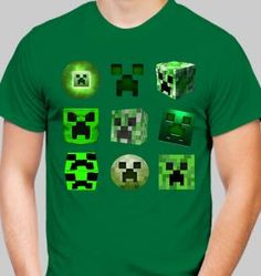 Kool mining gear created by kids with a love of Minecraft. Custom designs based on Minecraft skins, creepers, sayings, and more. See the creeper shirts and Lego Creeper. You can also upload your own art and create an inexpensive shirt. Dark Green Shirt, Minecraft Art, Microsoft Publisher, Creeper, Cool Designs, Photoshop, Cool Stuff, Mens Tops, Kids