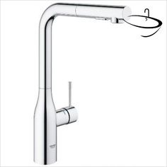 Buy the Grohe 30271000 Starlight Chrome Direct. Shop for the Grohe 30271000 Starlight Chrome Essence GPM Single Hole Pull Out Kitchen Faucet with Dual Spray, SpeedClean, EasyDoc, and SilkMove Technology and save. Grohe Kitchen Taps, Pull Out Kitchen Faucet, Kitchen Mixer, Shower Jets, Advanced Ceramics, Deck, Kitchen Installation, Sprays, Polished Nickel