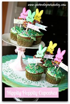 Easy DIY Easter cupcakes decorated with chocolate dipped bunny peeps
