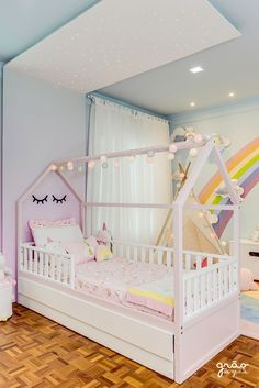 Toddler Room Decor, Baby Room Decor, Bedroom Decor, Girls Room Design, Girl Bedroom Designs, House Beds For Kids, Kid Beds, Baby Bedroom, Girls Bedroom