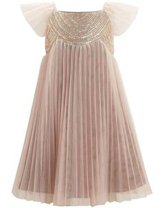 If there was a flower girl, this champagne dress    Girls Ida Pleated Dress