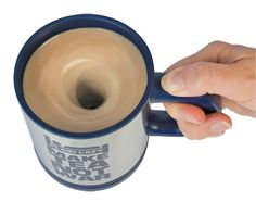 Self Stirring Lazy Mug and was created by Plain Lazy to hold your tea, coffee, hot chocolate or other mixed drink, and by pressing the special button on the handle it starts to stir your drink.