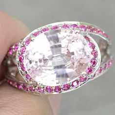 Natural 7.8CT Oval Cut Pink Kunzite and Round Diamond Cut Red Ruby Promise Engagement Anniversary Wedding Ring Size 7