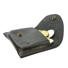 Change Pouch and Card Case in Black. Leather coin case made in the USA and helps organize your change and cards.