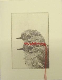 original etching of a 2headed bird,hand pulled by Fleurografie
