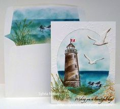 lighthouse scenic card with matching envelope by Sylvia Nelson