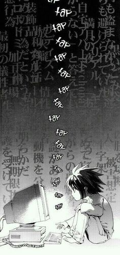L Lawliet, text, computer, typing, cute, chibi; Death Note